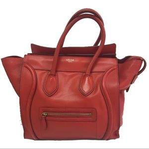 Celine Mini Luggage Tote in Red